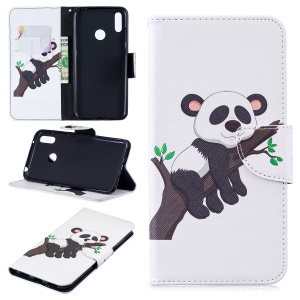 Pattern Printing Wallet Leather Stand Case for Huawei Y7 (2019) - Panda Climbing Tree