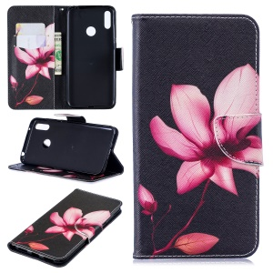 Pattern Printing Leather Wallet Case for Huawei Y7 (2019) - Flower Pattern