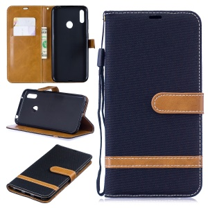 Assorted Color Jeans Cloth Wallet Stand Leather Case for Huawei Y7 (2019) - Black
