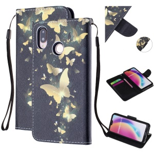 Pattern Printing Leather Wallet Case for Huawei P20 Lite / Nova 3e (China) - Gold Butterfly