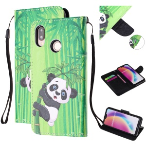 Pattern Printing Leather Wallet Case for Huawei P20 Lite / Nova 3e (China) - Panda on Bamboo
