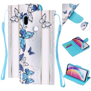 Pattern Printing Leather Wallet Case for Huawei P20 Lite / Nova 3e (China) - Blue and White Butterflies