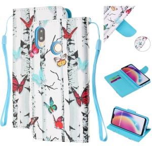 Pattern Printing Leather Wallet Case for Huawei P20 Lite / Nova 3e (China) - Colorful Butterflies