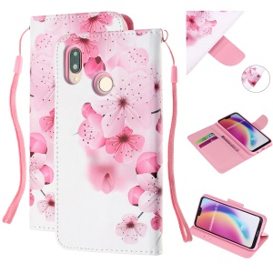 Pattern Printing Leather Wallet Case for Huawei P20 Lite / Nova 3e (China) - Pretty Flower