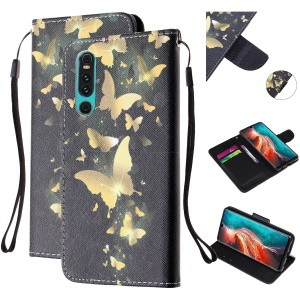 For Huawei P30 Pattern Printing Wallet Stand Leather Cell Phone Case with Strap - Gold Butterfly
