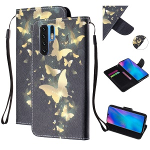 For Huawei P30 Pro Pattern Printing Wallet Stand Leather Flip Case with Strap - Gold Butterfly