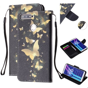 Pattern Printing Wallet Leather Stand Case for Huawei Y6 (2018) - Gold Butterfly