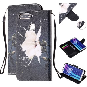 Pattern Printing Wallet Leather Stand Case for Huawei Y6 (2018) - White Flower