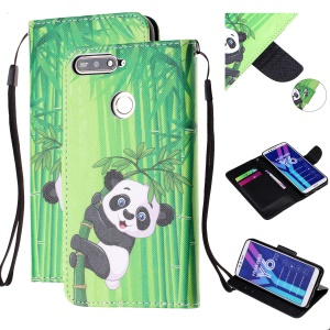 Pattern Printing Wallet Leather Stand Case for Huawei Y6 (2018) - Panda on Bamboo