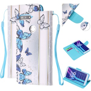Pattern Printing Wallet Leather Stand Case for Huawei Y6 (2018) - Blue and White Butterflies