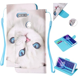 Pattern Printing Wallet Leather Stand Case for Huawei Y6 (2018) - White Cat