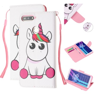 Pattern Printing Wallet Leather Stand Case for Huawei Y6 (2018) - Unicorn