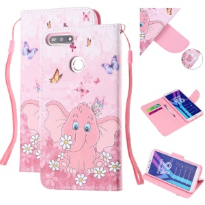 Pattern Printing Wallet Leather Stand Case for Huawei Y6 (2018) - Elephant and Flower