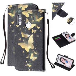 For Huawei P Smart (2019) Patterned Wallet Leather Protection Cover with Strap - Gold Butterfly