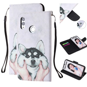 For Huawei P Smart (2019) Patterned Wallet Leather Protection Cover with Strap - Dog