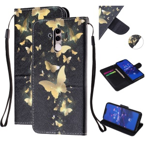 Pattern Printing Leather Wallet Stand Case for Huawei Mate 20 Lite - Gold Butterfly