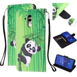 Pattern Printing Leather Wallet Stand Case for Huawei Mate 20 Lite - Panda on Bamboo