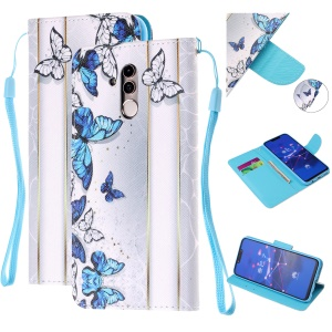 Pattern Printing Leather Wallet Stand Case for Huawei Mate 20 Lite - Blue and White Butterflies