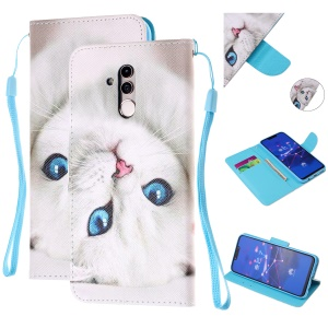 Pattern Printing Leather Wallet Stand Case for Huawei Mate 20 Lite - White Cat