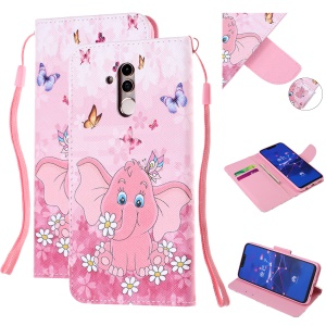 Pattern Printing Leather Wallet Stand Case for Huawei Mate 20 Lite - Elephant and Flower