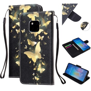 Pattern Printing Leather Wallet Case for Huawei Mate 20 Pro - Gold Butterfly