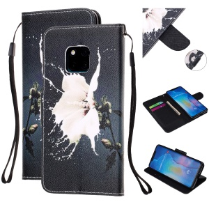 Pattern Printing Leather Wallet Case for Huawei Mate 20 Pro - White Flower