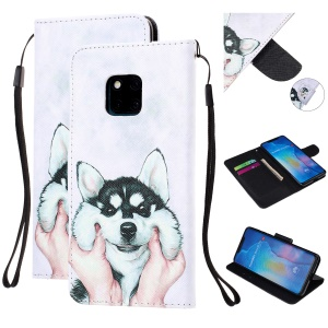 Pattern Printing Leather Wallet Case for Huawei Mate 20 Pro - Dog