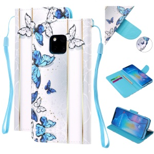 Pattern Printing Leather Wallet Case for Huawei Mate 20 Pro - Blue and White Butterflies
