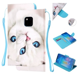 Pattern Printing Leather Wallet Case for Huawei Mate 20 Pro - White Cat