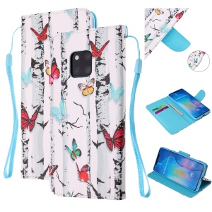Pattern Printing Leather Wallet Case for Huawei Mate 20 Pro - Colorful Butterflies