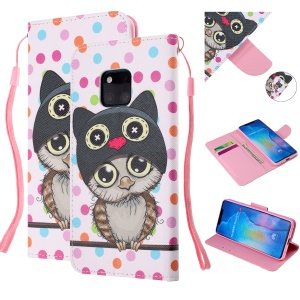 Pattern Printing Leather Wallet Case for Huawei Mate 20 Pro - Cartoon Owl and Dots
