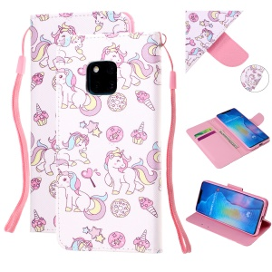 Pattern Printing Leather Wallet Case for Huawei Mate 20 Pro - Unicorn and Cake