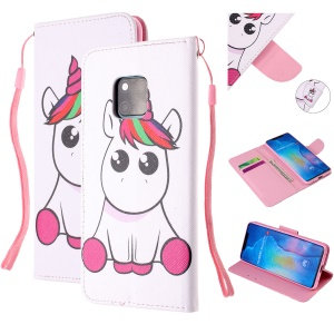 Pattern Printing Leather Wallet Case for Huawei Mate 20 Pro - Unicorn