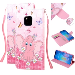Pattern Printing Leather Wallet Case for Huawei Mate 20 Pro - Elephant and Flower