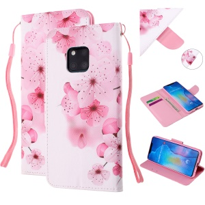 Pattern Printing Leather Wallet Case for Huawei Mate 20 Pro - Pretty Flower