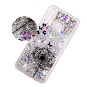 Embossed Pattern Glitter Powder Quicksand TPU Phone Shell for Huawei P30 Lite - Dandelion and Butterfly