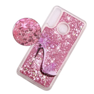 Embossed Pattern Glitter Powder Quicksand TPU Phone Shell for Huawei P30 Lite - High-heel Shoe