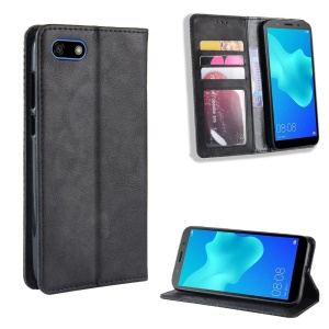 Vintage Style PU Leather Wallet Phone Case for Huawei Y5 (2018) Y5 Prime (2018)/Y5 lite (2018) - Black