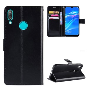 Crazy Horse Wallet Leather Case with Strap for Huawei Y7 (2019)/Y7 Prime (2019) - Black