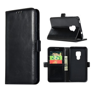 Crazy Horse Wallet Cover Stand Leather Case Cover for Huawei Mate 20 - Black