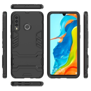 Plastic + TPU Hybrid Case with Kickstand for Huawei P30 Lite - Black