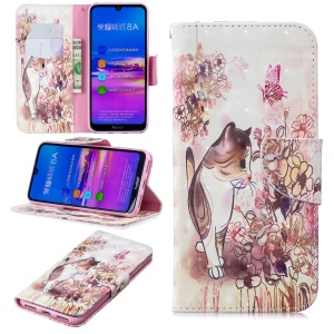 Pattern Printing [Stand Wallet] Leather Cell Phone Case for Huawei Honor 8A - Cat and Flower