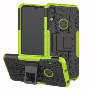 Anti-slip PC + TPU Hybrid Case with Kickstand for Huawei Honor 8A / Y6 (2019, with Fingerprint Sensor) / Y6 Prime (2019) - Green