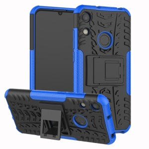 Anti-slip PC + TPU Hybrid Case with Kickstand for Huawei Honor 8A / Y6 (2019, with Fingerprint Sensor) / Y6 Prime (2019) - Blue