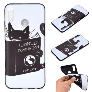 Pattern Printing Soft TPU Mobile Cover for Huawei Honor 8A - Cat Reading Book