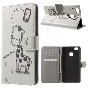 Leather Wallet Stand Phone Case for Huawei P9 Lite - Giraffe