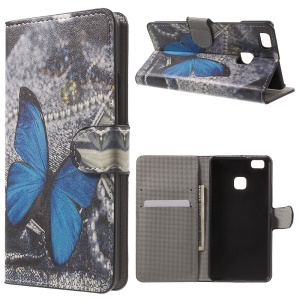 Leather Wallet Stand Protective Case for Huawei P9 Lite - Blue Butterfly