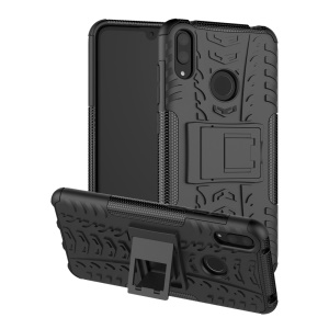 Tyre Pattern PC TPU Hybrid Phone Shell with Kickstand for Huawei Y7 Pro (2019) / Y7 (2019) / Enjoy 9 - Black