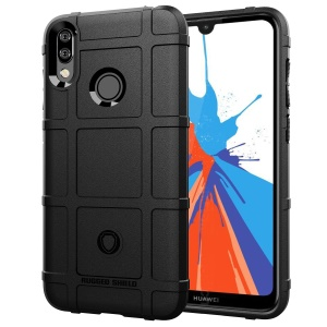 Rugged Shield Square Grid Texture TPU Case Accessory for Huawei Y7 Prime (2019) - Black