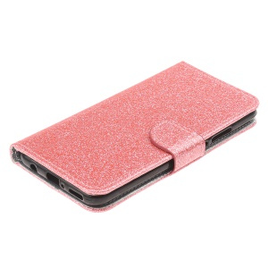 Glittery Powder Wallet Stand Leather Case for Huawei P Smart (2019) - Pink